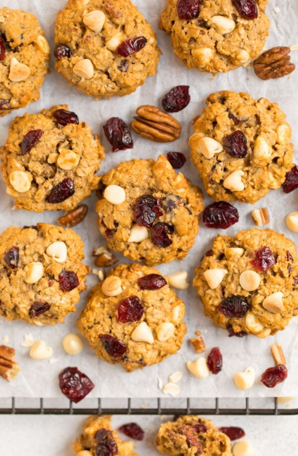White chocolate cranberry oatmeal cookies with pecans