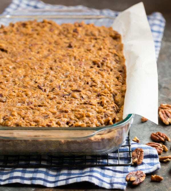 A baking dish filled with the best ever pecan pie bars