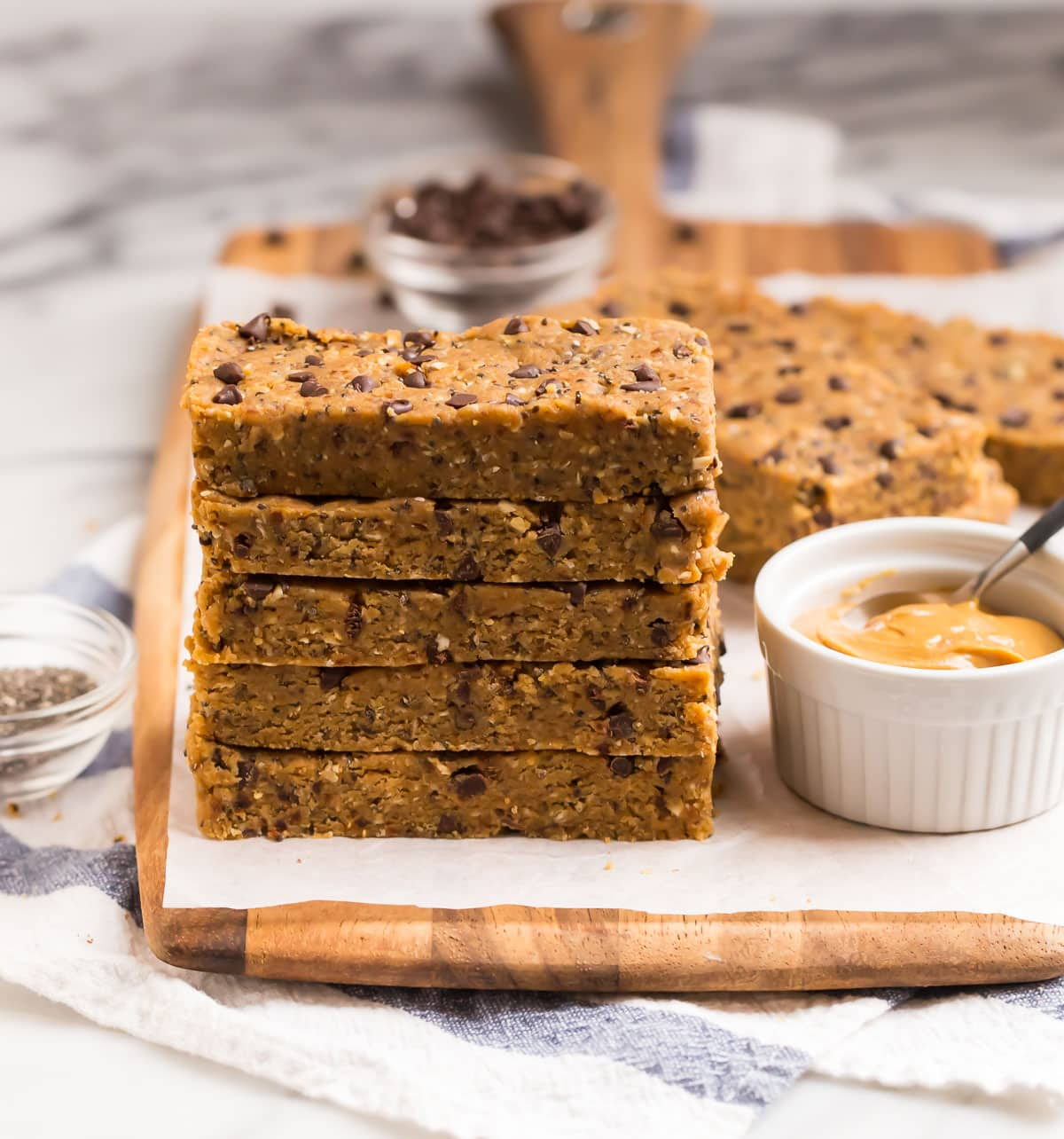 a stack of vegan protein bars