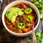 A white bowl with Whole30 chili