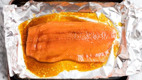 A side of salmon on foil