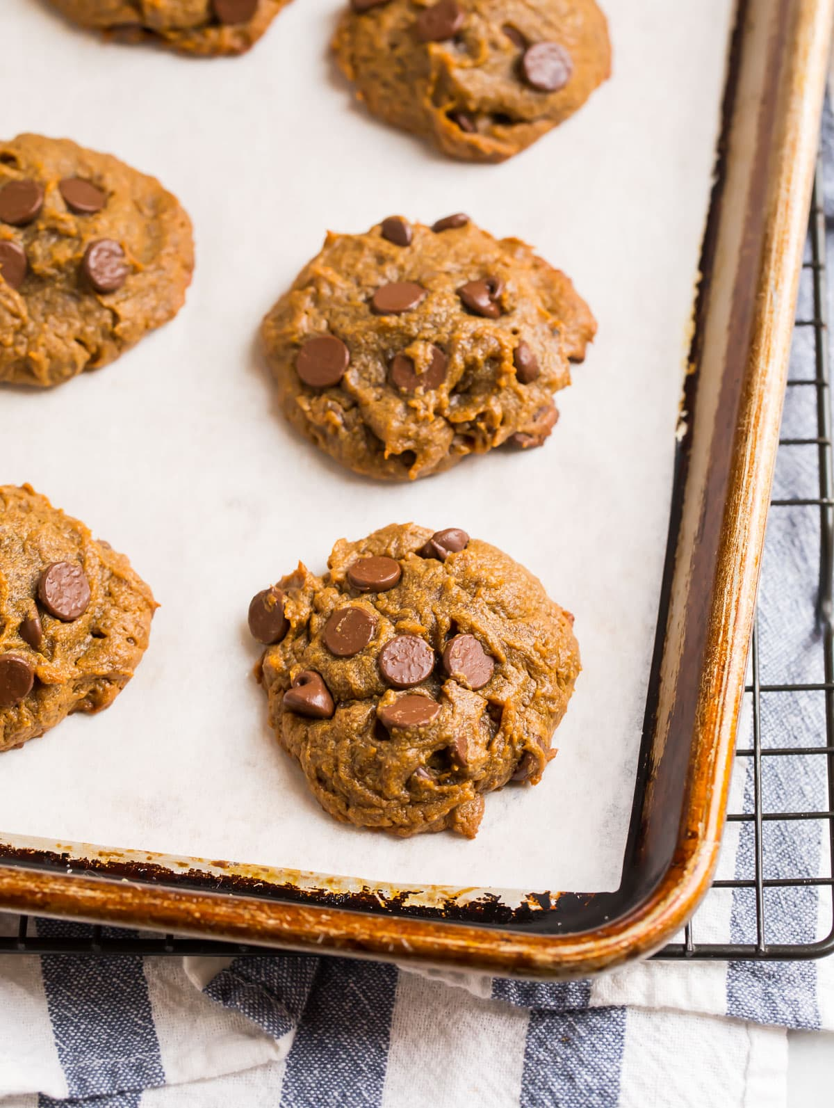 Rich and soft peanut butter cookies with chocolate chips and bananas