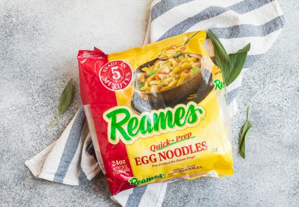 A package of Reames egg noodles on a towel