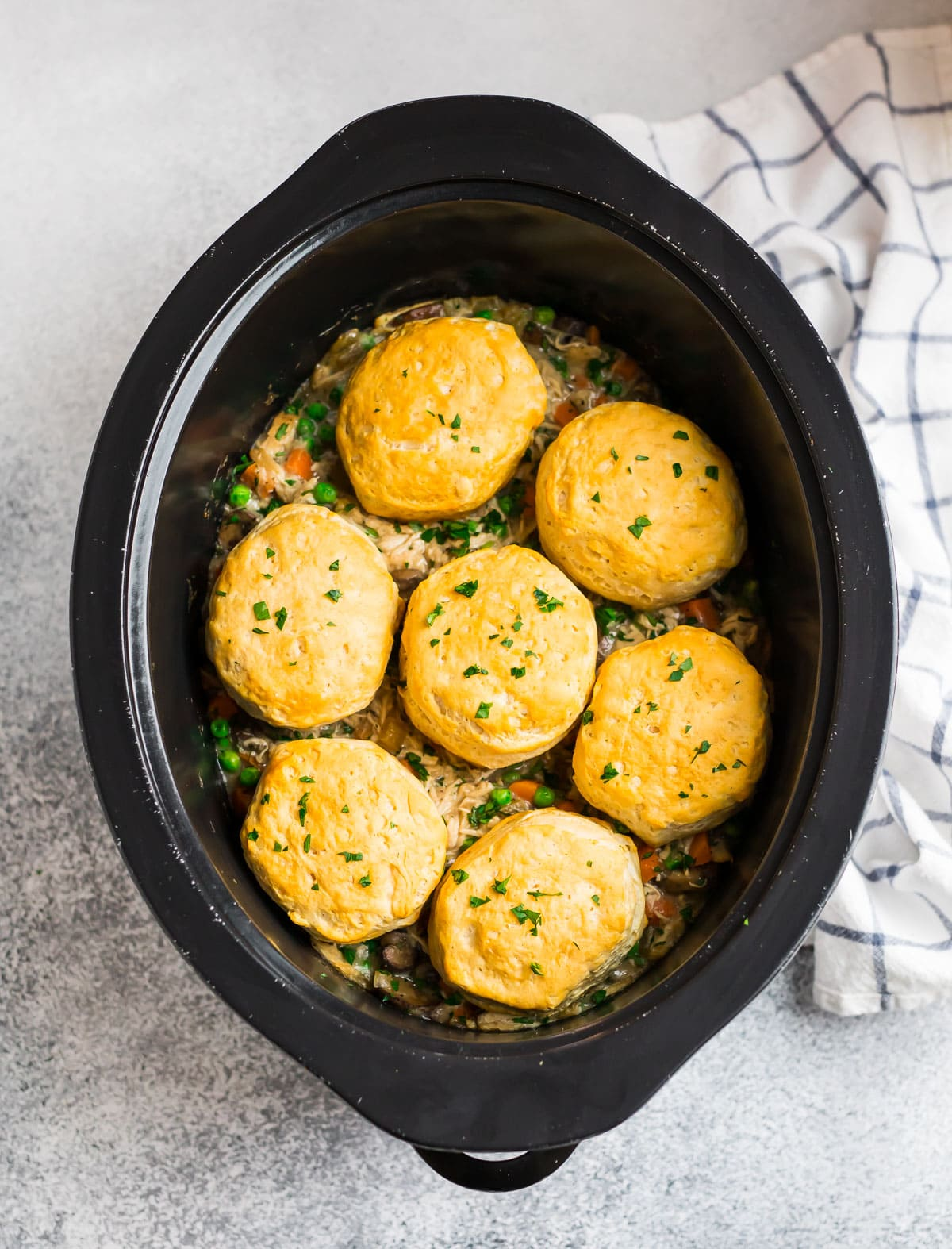 Easy crock pot chicken pot pie with biscuits and vegetables