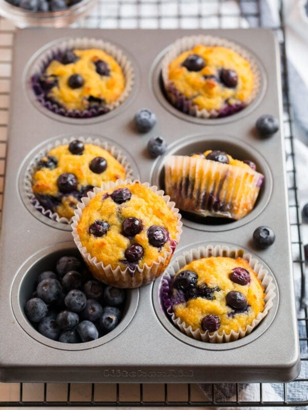 Blueberry coconut flour muffins in a muffin pan