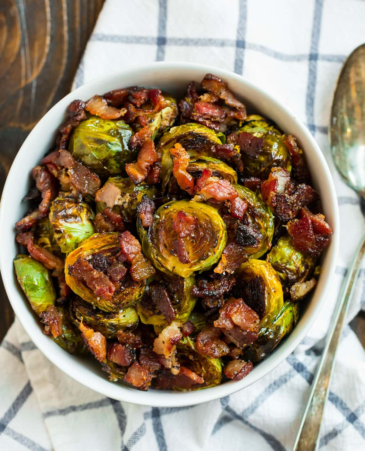 Easy oven roasted Brussels sprouts with bacon in a bowl