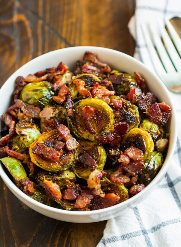 A bowl of delicious crispy Brussels sprouts with bacon