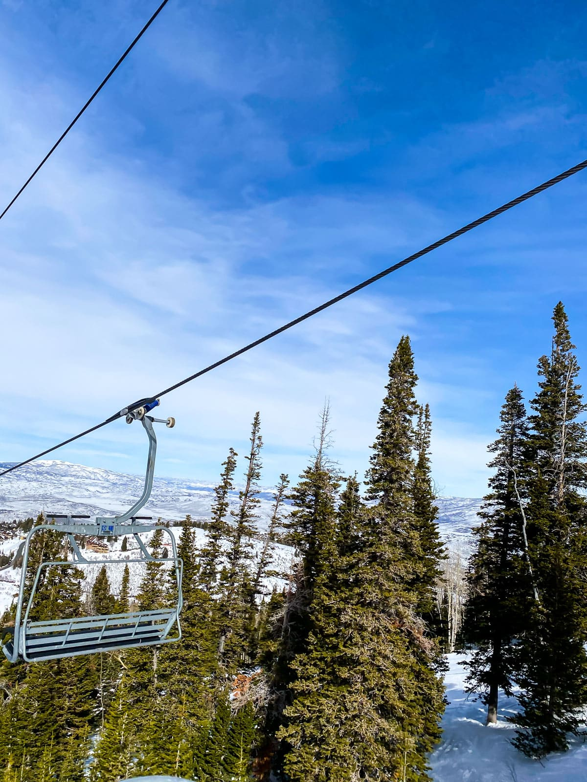 View from a ski lift at Deer Valley Resort