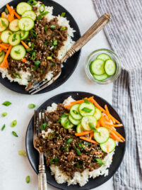 Healthy Korean beef bowl with vegetables on rice