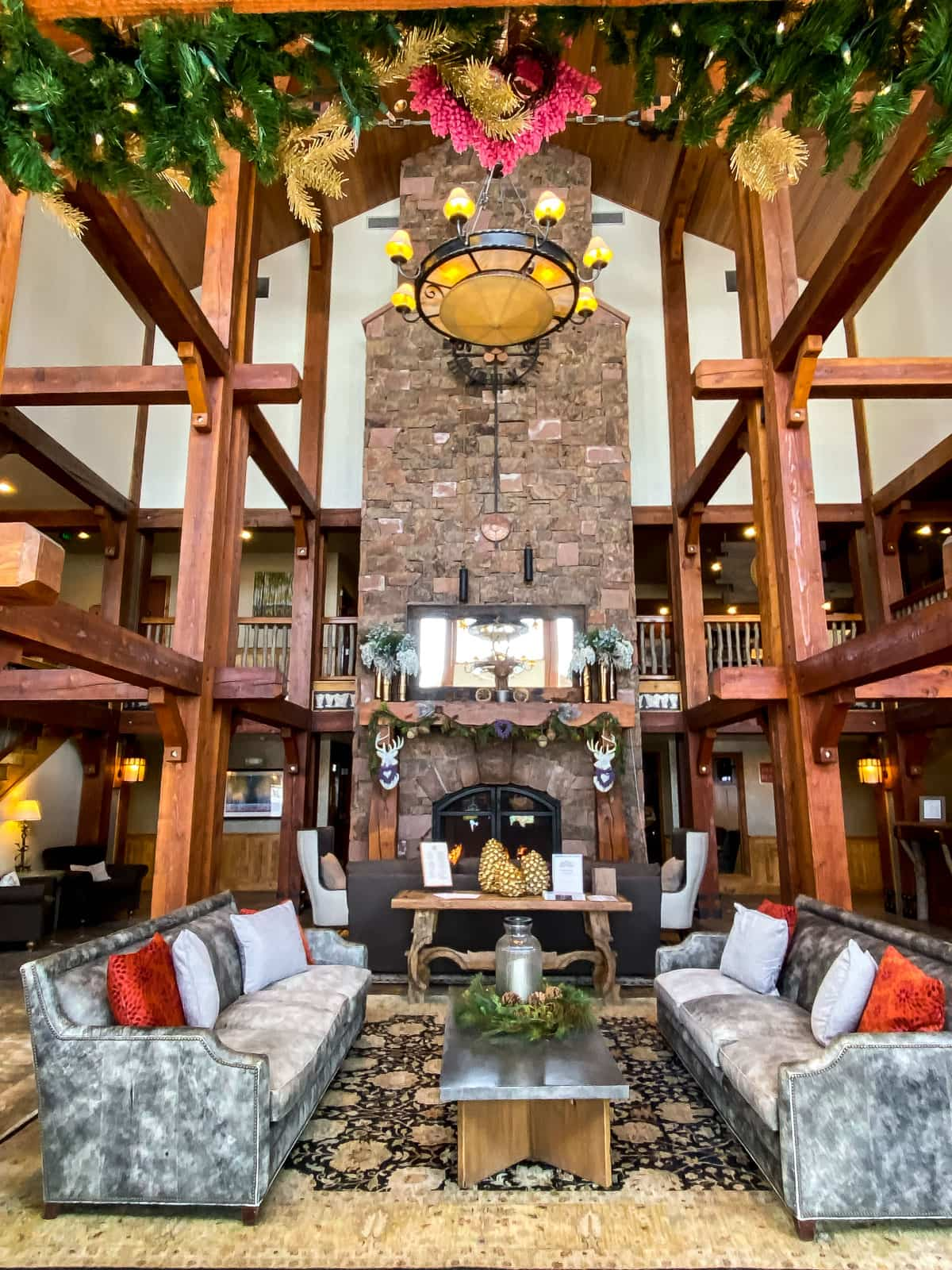 A cozy and well appointed lobby at the Deer Valley Resort