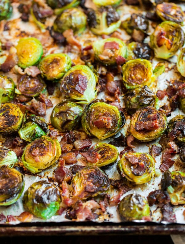 Crispy Brussels sprouts with bacon on a baking sheet