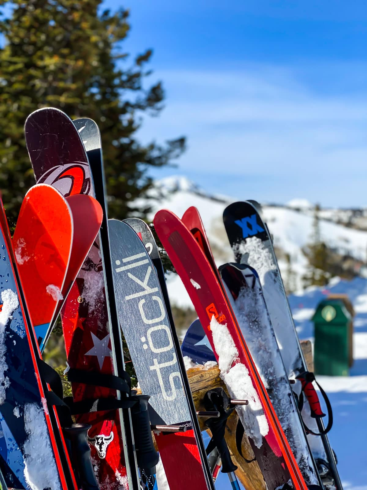 An array of snow skis used for skiing at Deer Valley Resort