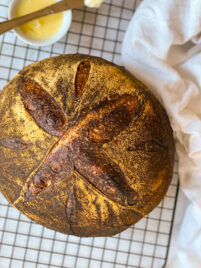 A boule of artisan sourdough bread
