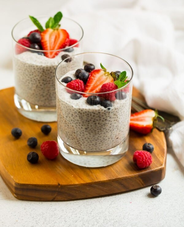 Coconut Chia Pudding in cups with fruit