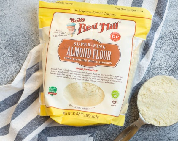 A bag of Bob's Red Mill almond flour used for gluten free carrot cake