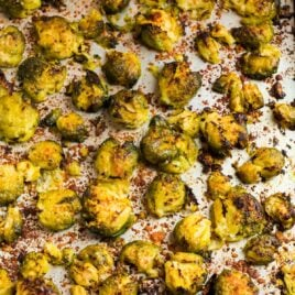 Crispy smashed Brussels sprouts on a baking sheet