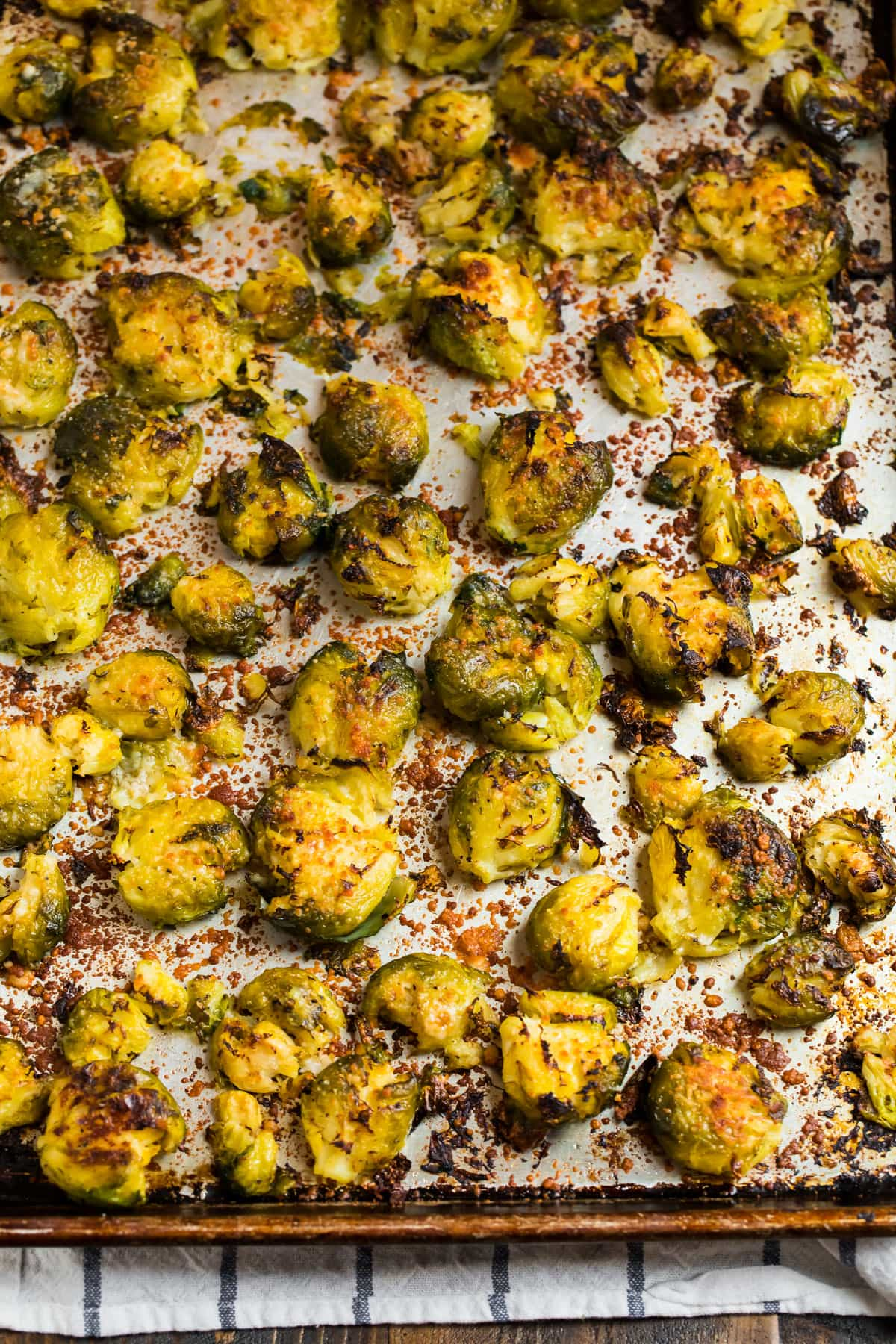 Crispy smashed Brussels sprouts on a sheet pan