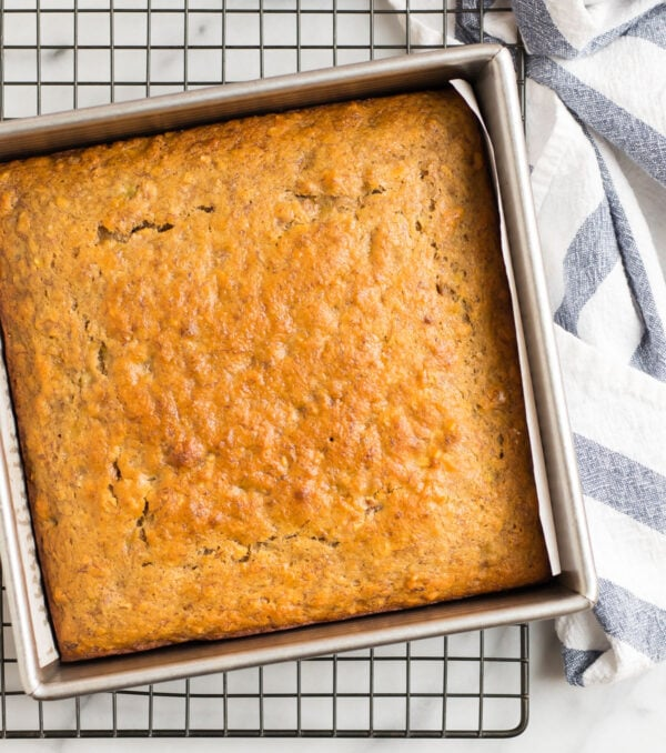 A baking pan with banana bread brownies no sour cream