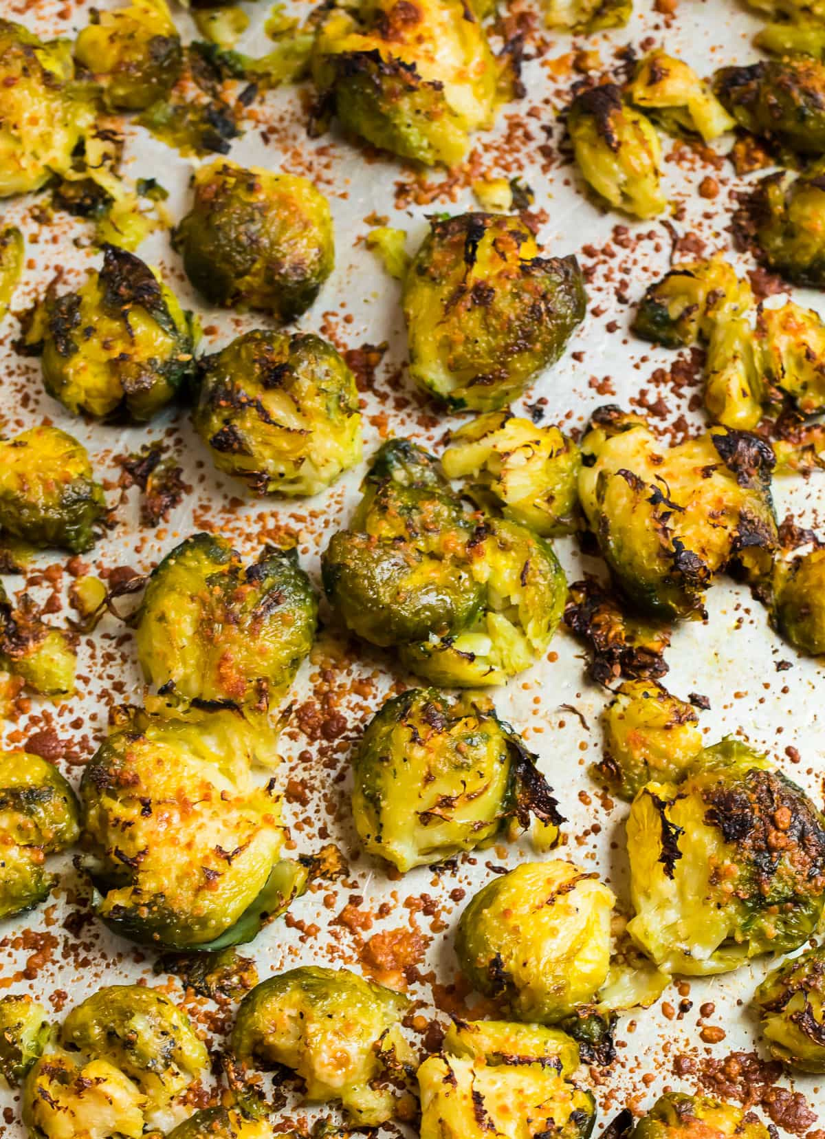 Roasted smashed Brussels sprouts with cheese