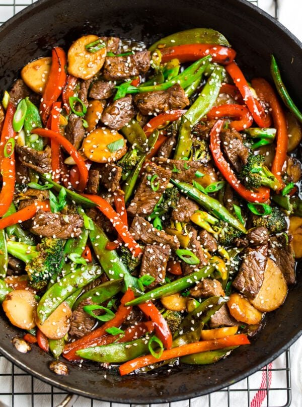 Chinese beef stir fry in a skillet