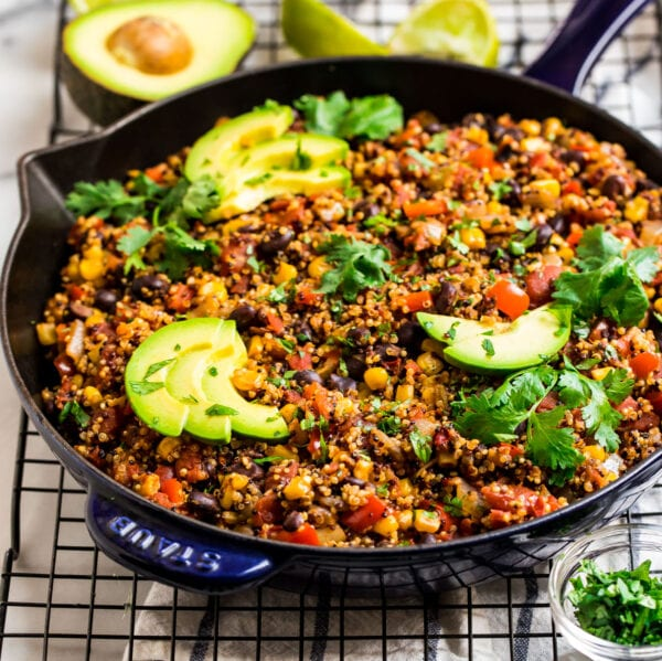 cooked Mexican quinoa recipe in a skillet