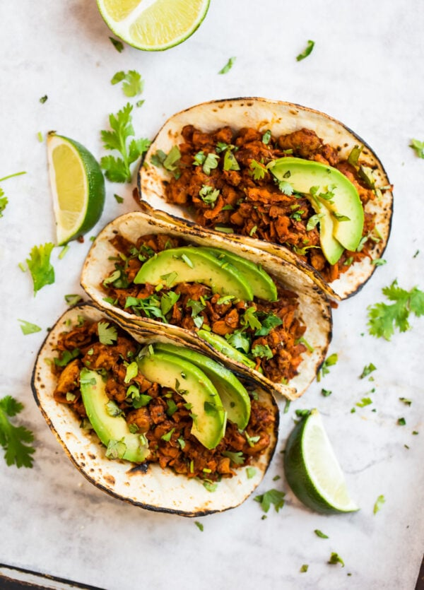 three tempeh tacos with lime