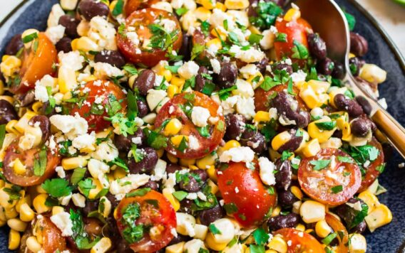 Black bean corn salad with feta and tomatoes