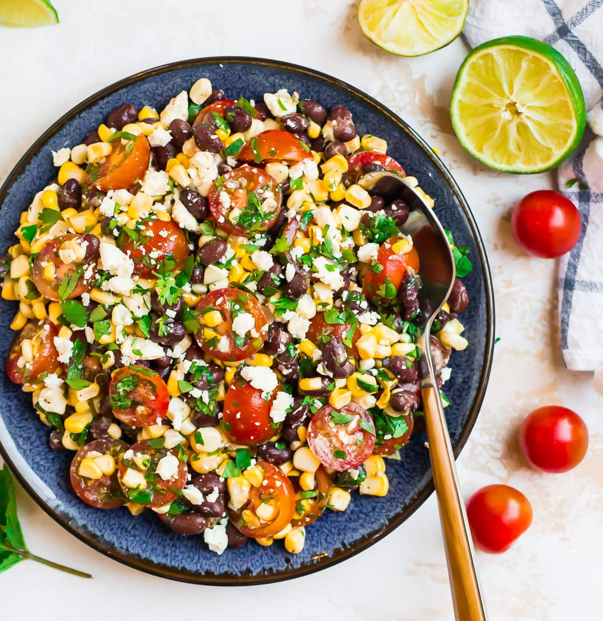 Healthy black bean corn salad with tomatoes
