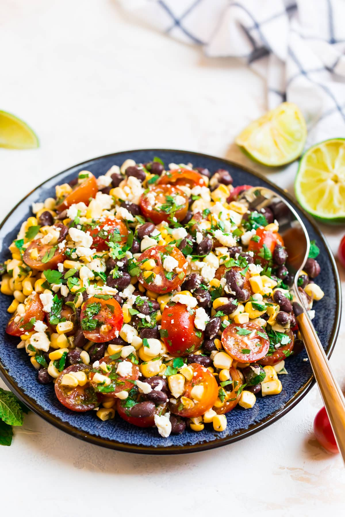 Easy black bean corn salad on a plate