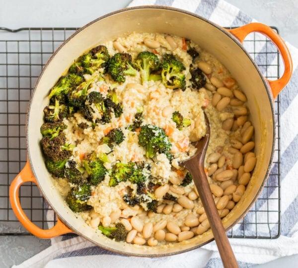 A Dutch oven with broccoli quinoa casserole