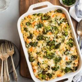 Creamy broccoli quinoa casserole in a baking dish