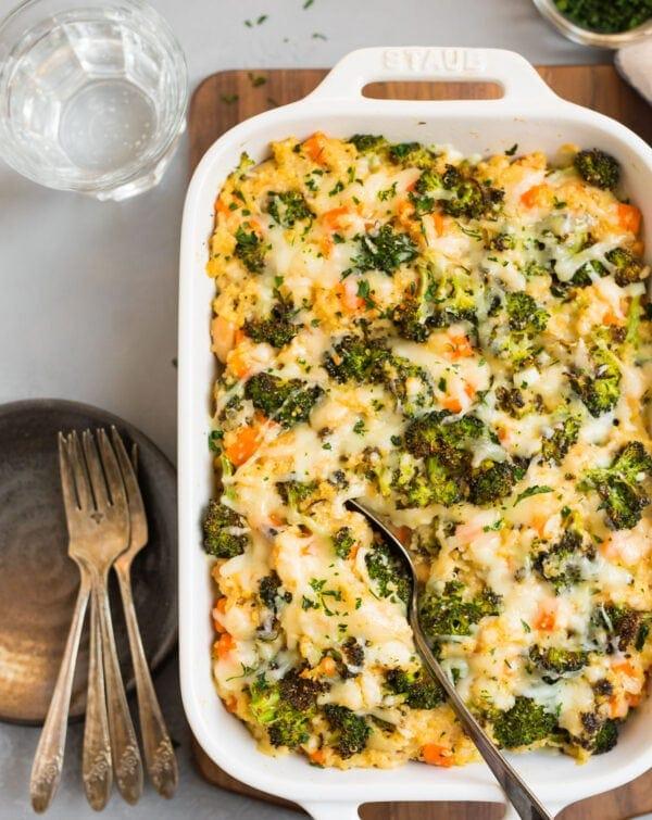 Cheesy broccoli quinoa casserole in a baking dish