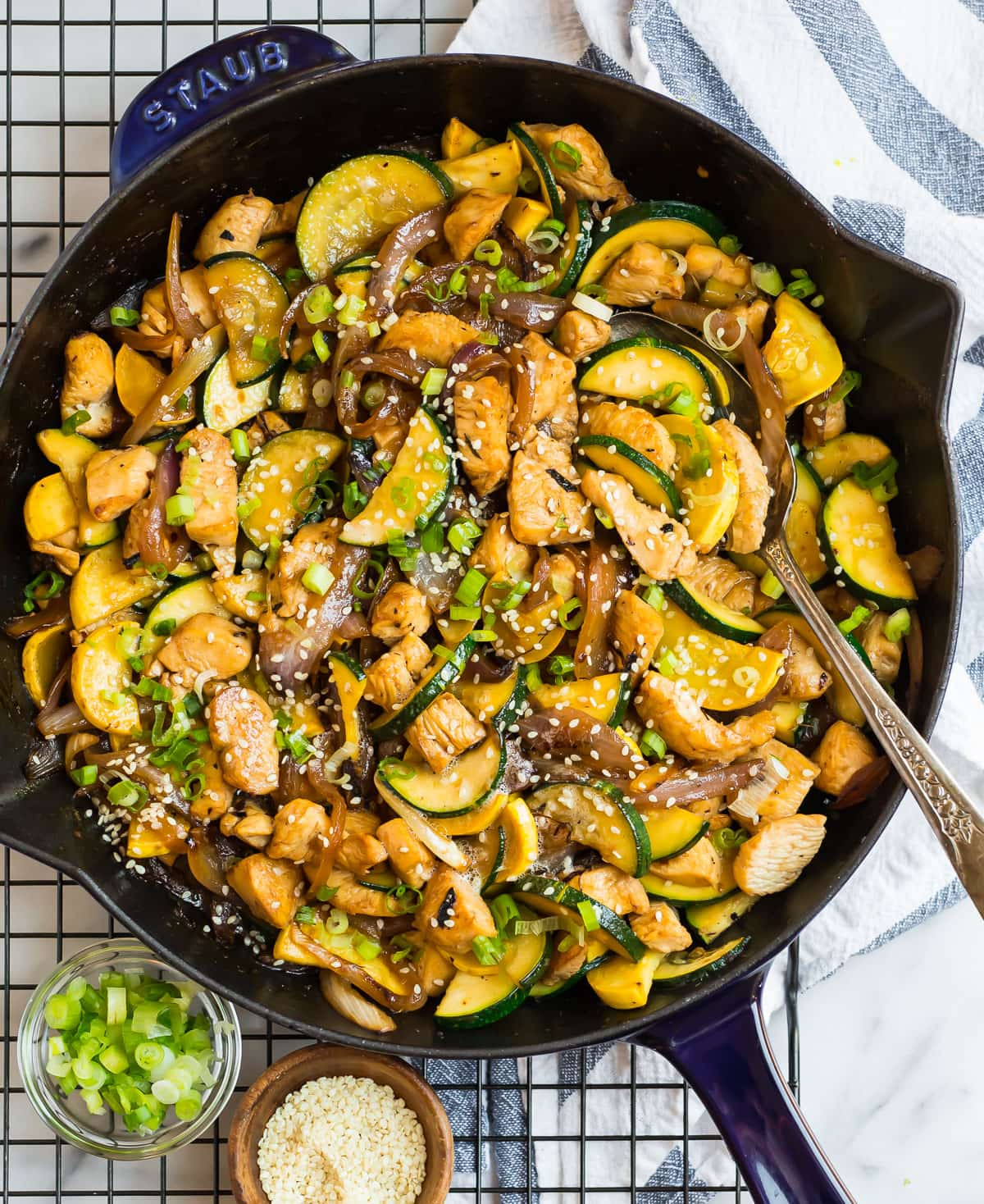 Easy chicken and zucchini stir fry in a skillet