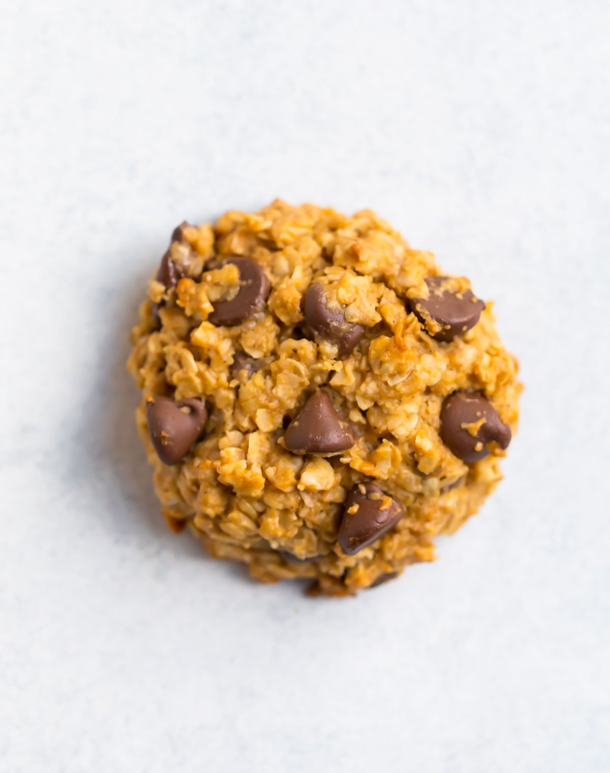 A peanut butter oatmeal cookie with chocolate chips