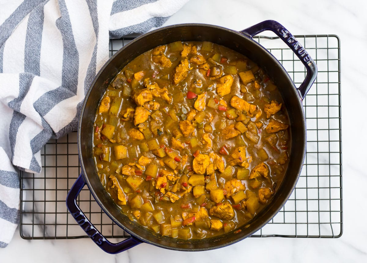 Easy Jamaican chicken curry in a Dutch oven