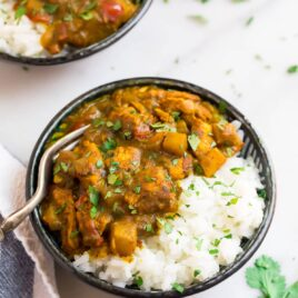 Jamaican chicken curry in a bowl with rice