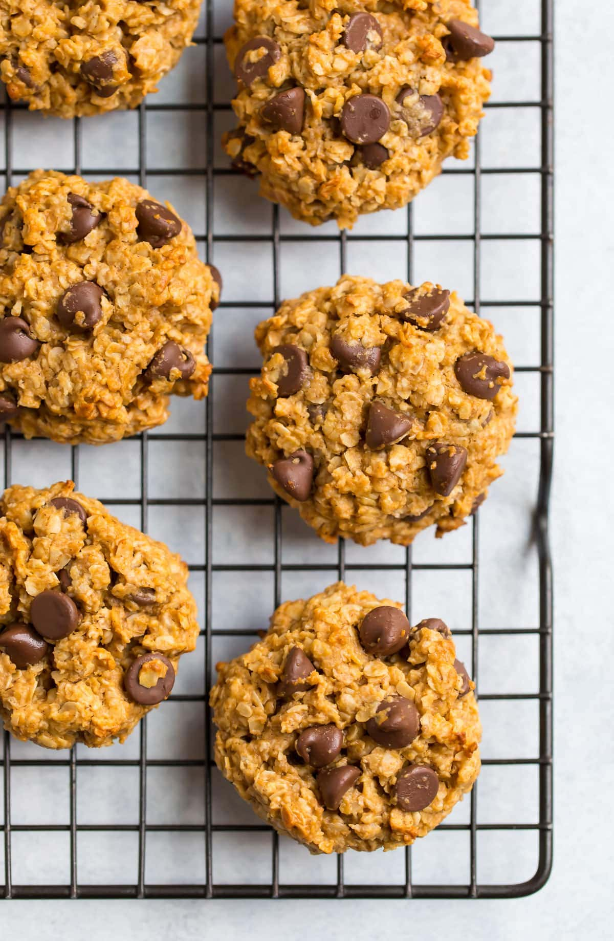 Healthy peanut butter oatmeal cookies with chocolate