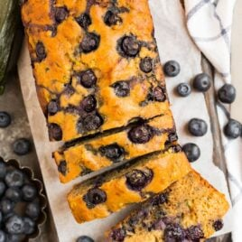 Easy blueberry zucchini bread cut into slices