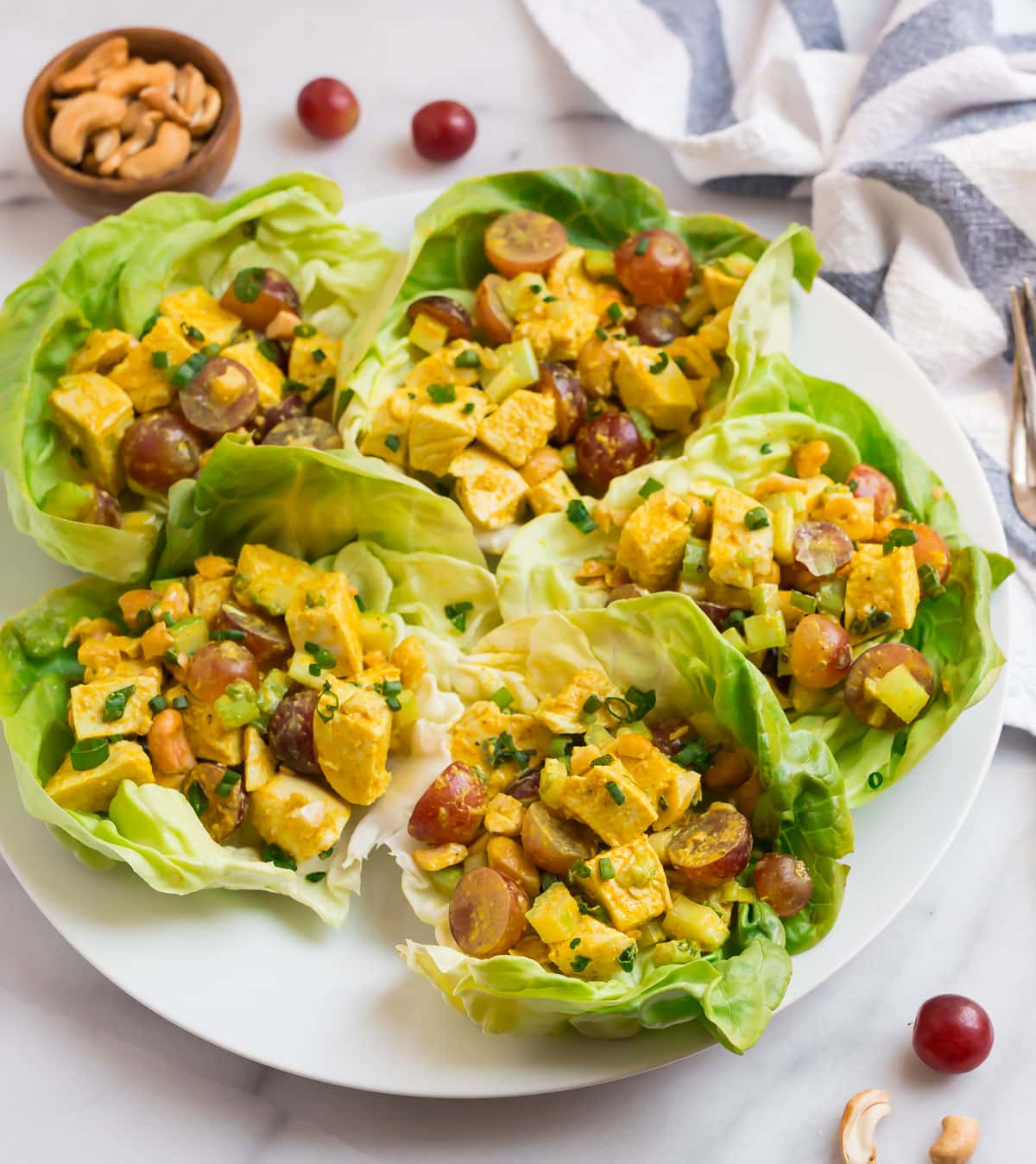 Curry chicken salad served in lettuce cups