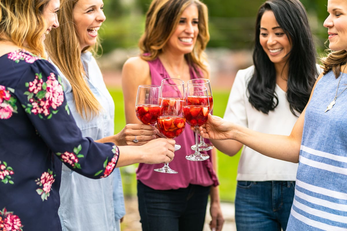 Group of girls drinking sangria