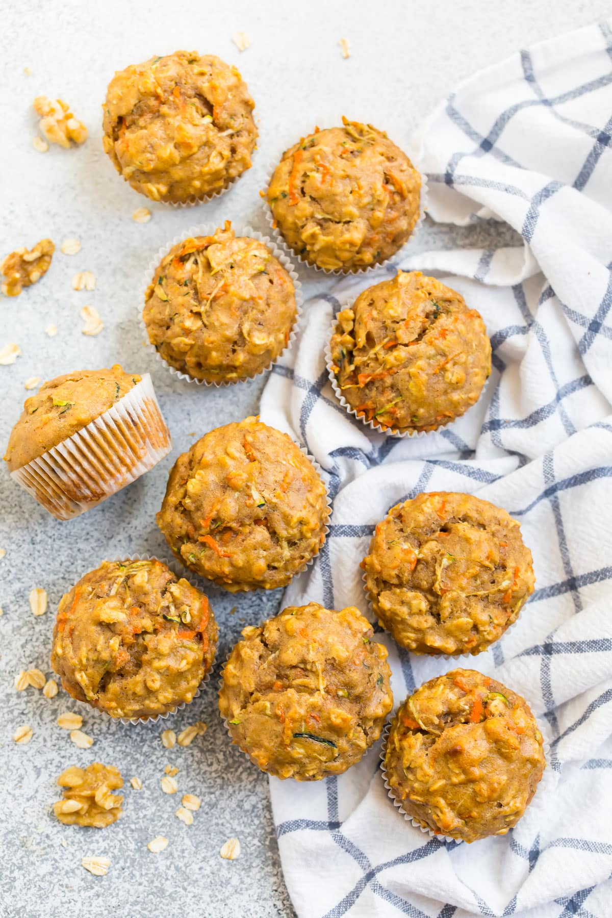 Easy zucchini carrot muffins in muffin liners
