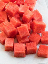Cubes of watermelon on a paper towel