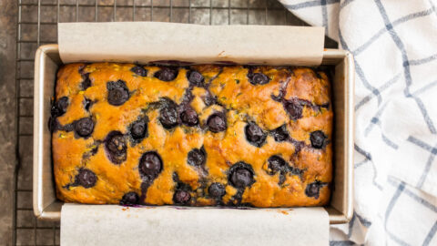 Blueberry zucchini bread in a bread pan