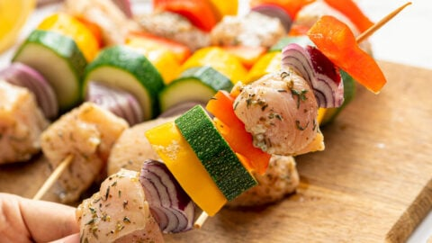 Chicken and vegetables on a skewer