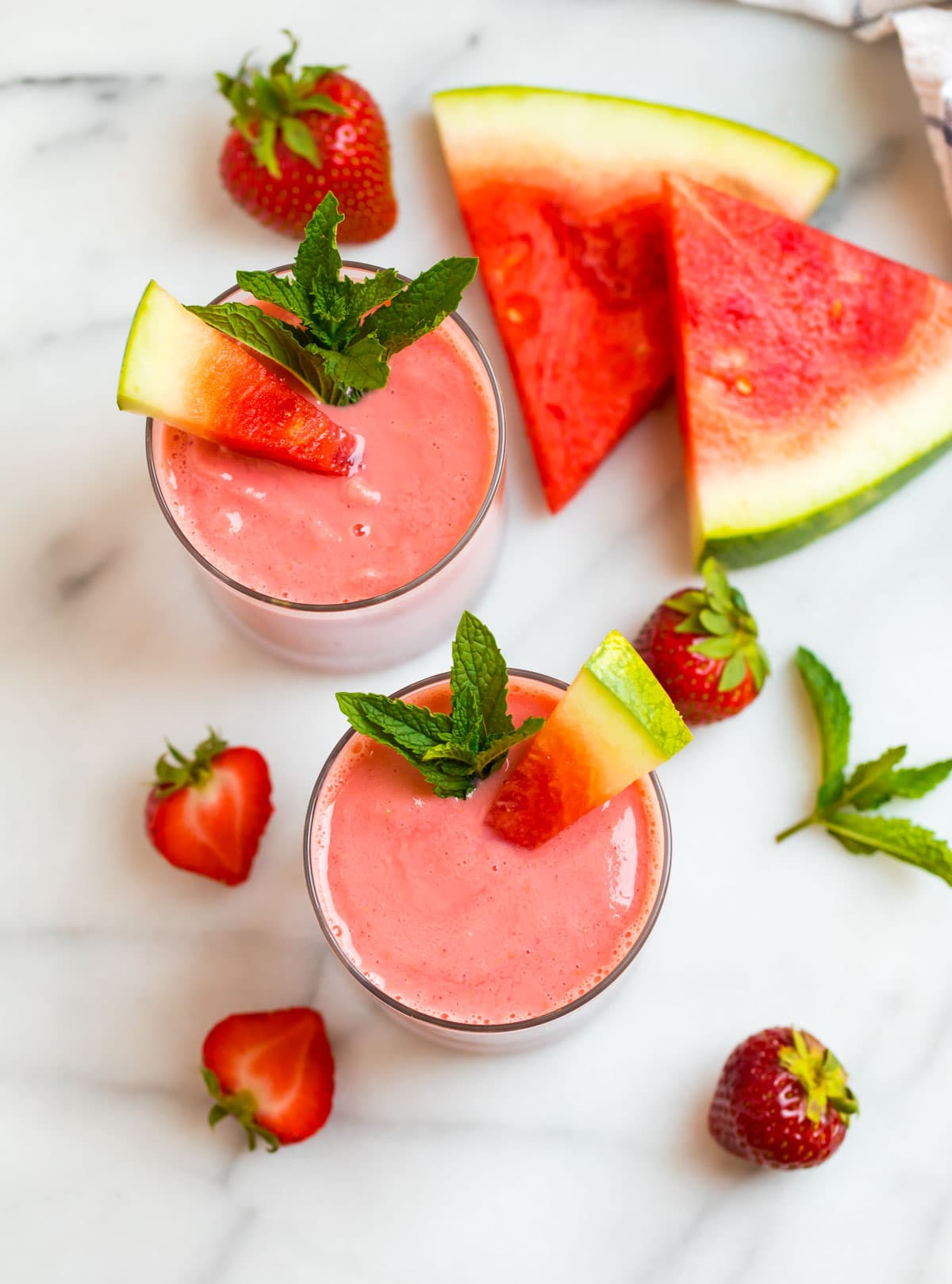 Two easy watermelon smoothies in glasses