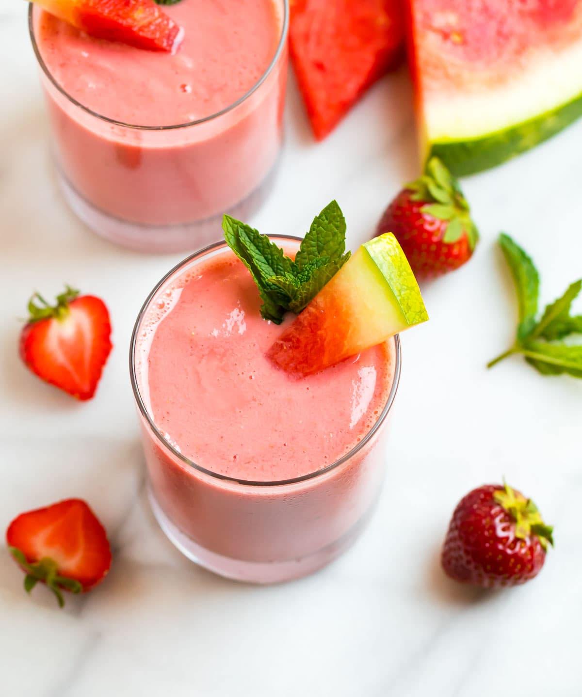 Watermelon smoothies served in glasses