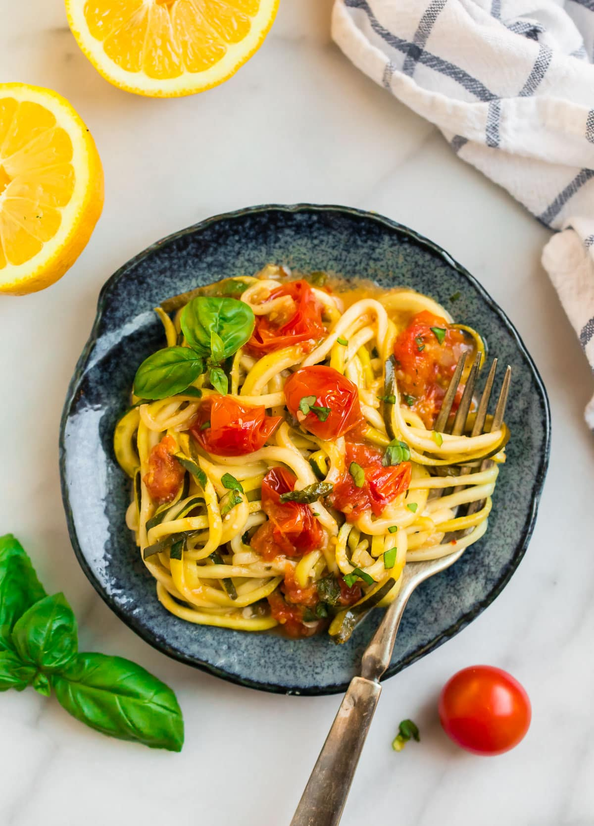 Easy zucchini pasta with tomatoes, basil, and lemon