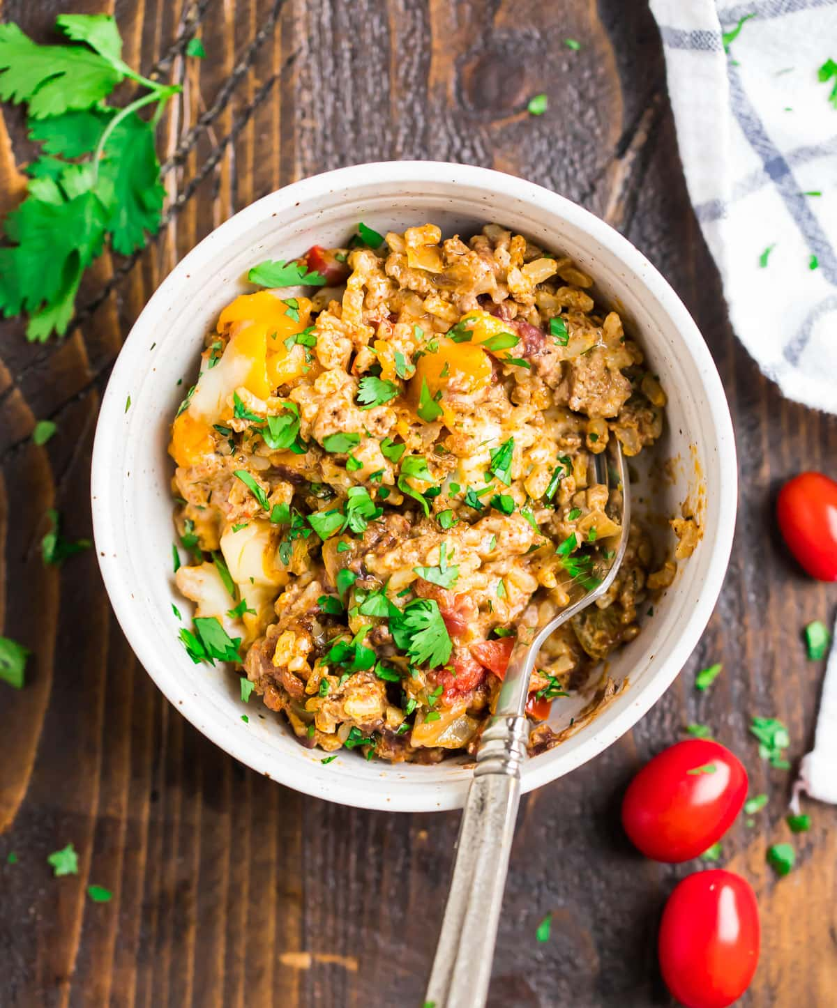 Mexican casserole in a bowl