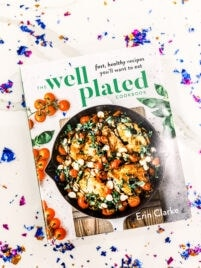 The Well Plated Cookbook surrounded by confetti