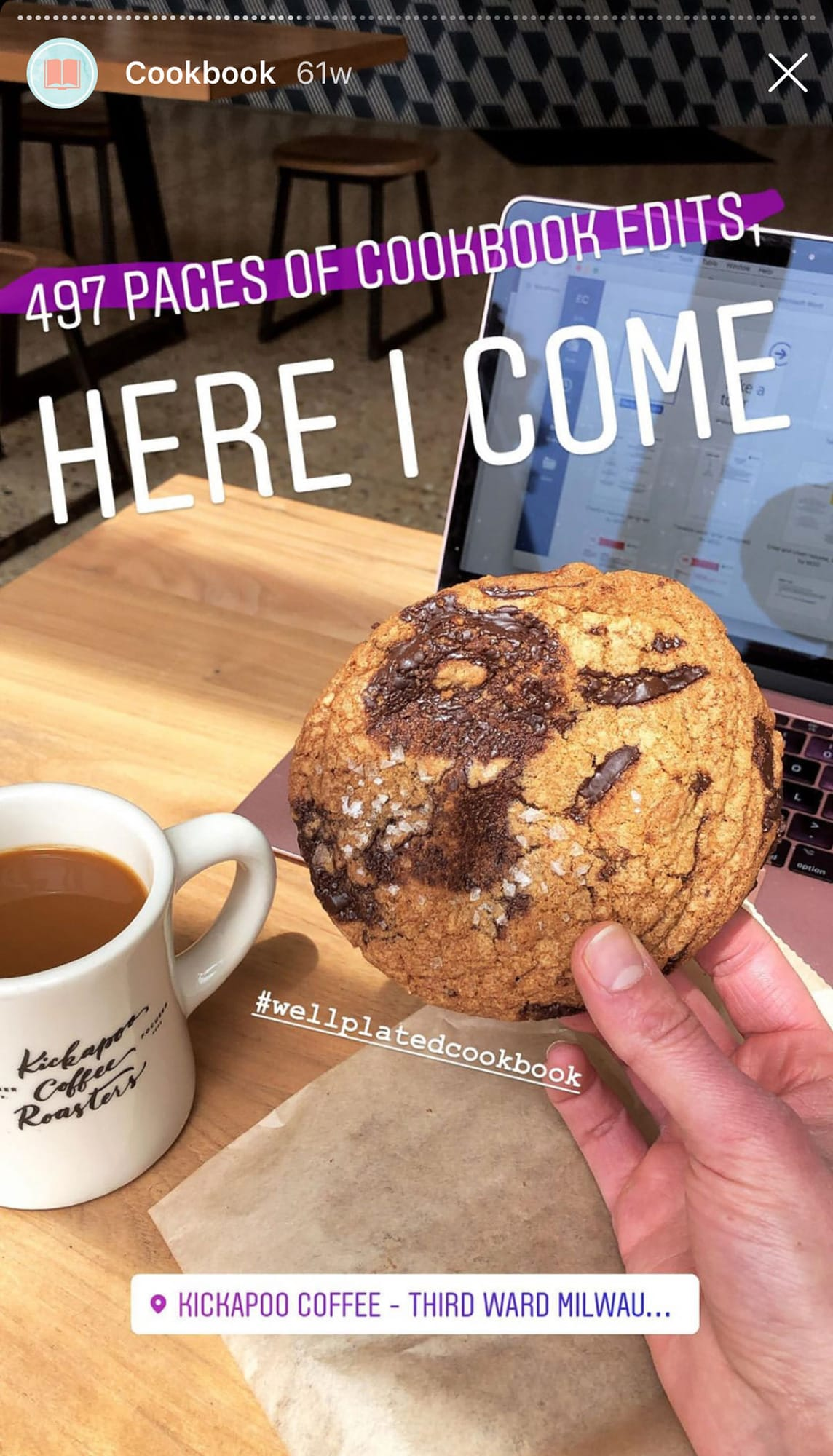Chocolate chip cookie and coffee
